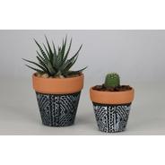 Juego De Macetas Mini De Terracota Pintada Suculentas Cactus