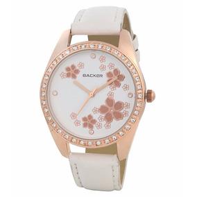 Relógio Backer 3059112 Pulseira Couro Branco Fundo Branco
