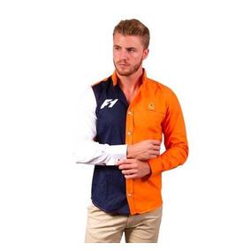Camisa Porto Blanco Caballero Algodon Naranja F1 Ce-4049
