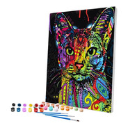 Pintura Numerada Gato Abstrato Colorido