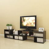 Mueble Rack Modular Tv Negro 2.10mt. 2 Piezas / Rebajas