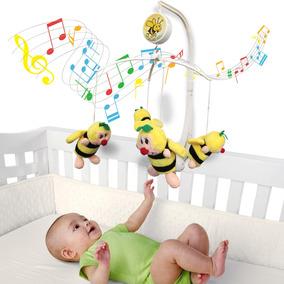 Móbile Em Pelúcia Giratório Musical De Bebê Abelhinhas