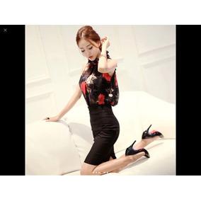 Blusa Floreada Mujer Moda Japonesa Talla L Grande