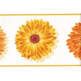 Cenefa Decorativa De Flores Naranjas 2 Rollos