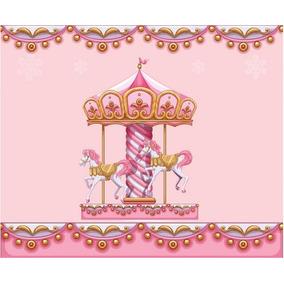 Painel Tecido Sublimado 3d Carrossel Rosa 3,00m Larg X 2,00m