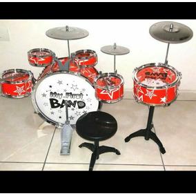 Bateria Infantil Musical Jazz Drum First Band Cor Vermelha
