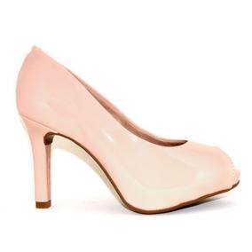 Sapato Peep Toe Beira Rio Básico Rose Confortável Salto 9,5