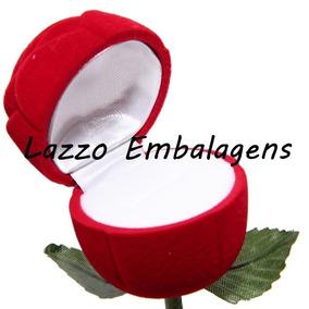 Caixa Veludo Forma De Rosa P/anel,alinaça,noivado Casamento
