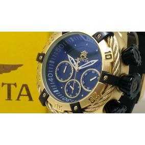 Relógio Bolt Zeus Azul Preto Dourado Na Caixa Original