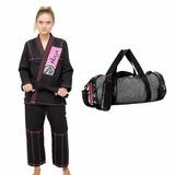 Kimono Naja Feminino Preto/rosa F2 Jiu Jitsu + Bolsa Naja