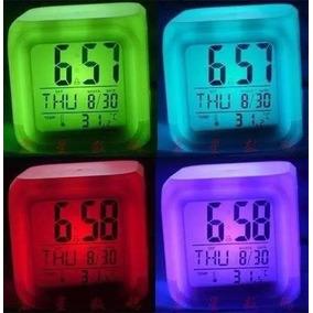 Reloj Despertador Cubo Luminoso Digital 6 Colores Led Alarma