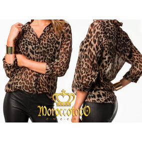 Camisa Mujer Gasa Animal Print Leopard Importada Art 3922