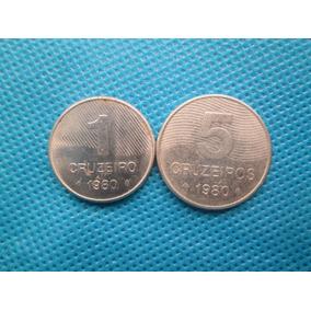 2 Moedas Do Brasil 1 + 5 Cruzeiros 1980 Cana De Açucar + ..