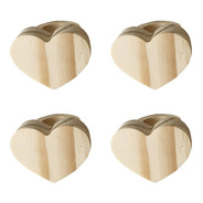 Porta Guardanapo Anel Coração Madeira Pinus 4pçs