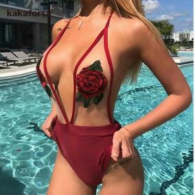 Bikini Cintura Monokini Halter Transparencias Flores Bordado
