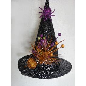 Fiesta Halloween Sombrero Bruja Con Calabaza Y Araña Adorno