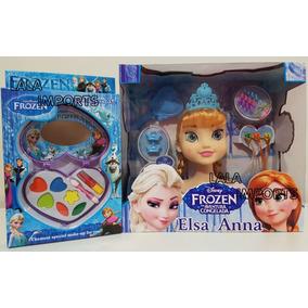Cabeça Boneca Frozen P Maquiar E Pentear + Kit Maq Frozen