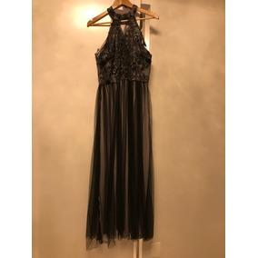 Vestido Longo De Festa Prata/preto