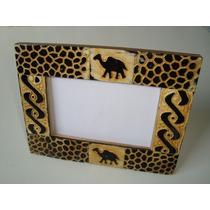 Porta Retrato Madeira Mdf Mosaico Resina Pátina Indiano 1