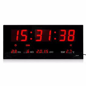 Relógio De Parede Led Digital Termômetro Alarme Calendário