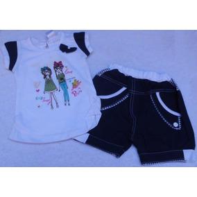 Conjunto Franela Y Short Camisa Blanca Ropa Bebe Niña