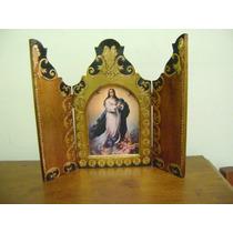 Arte Sacra Oratório Capelinha Em Madeira Trabalhada