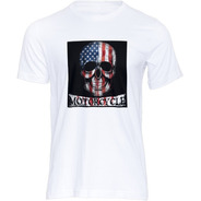 Camiseta  Caveira Motocicleta Usa Design Moda Estilo Tshirt