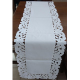 Caminho De Mesa De Tecido - Branco 100% Poliéster