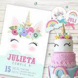 Kit Imprimible Unicornio Arcoiris Pastel Candy Invitación