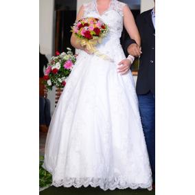 Vestido De Noiva Princesa Longo Manga Curta Casamento Renda