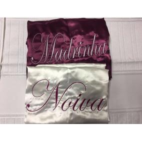Hobby Feminino Noiva Roupão Cetim Personalizado Robe