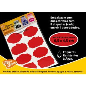 Etiqueta Vinil Vermelha Adesiva P/ Caneta Giz Líquido