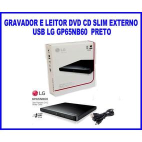 Gravador E Leitor De Dvd Externo Lg Gp65nb60 Ultra Slim Novo
