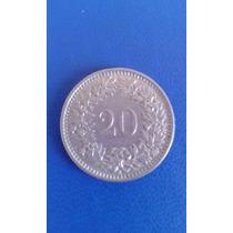 Moneda 20 Centavos Franco Suiza. Año 1963.