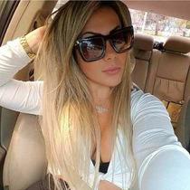 Oculos De Sol Feminino Máscara Quadrado Top Preto Brilhante