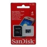 Cartão Micro Sd 4g Sandisk Kingston + Adaptador Sd Lacrado