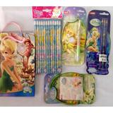 Set Productos Escolares Campanita De Disney Originales