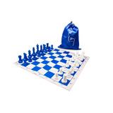 Ajedrez Color Azul Y Blanco Con Envío Incluido.