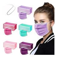 Kit Máscara Descartável Proteção 50 Un De Mulher Colorida