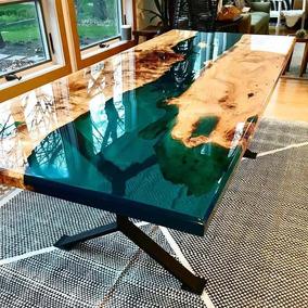 Resina Epoxi Cristal Média: Mesa Madeira River Table 1,45 Kg