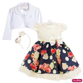 Vestido Infantil Floral Jardim Realeza Daminha Com Bolero
