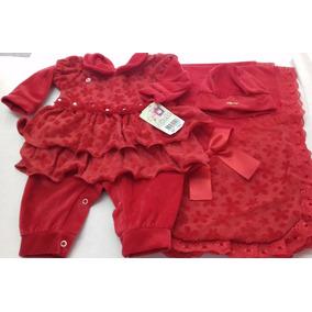 Saída De Maternidade Vermelha Menina Vestido Bebê
