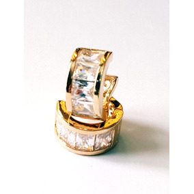 Arracadas De Oro Laminado Y Zirconias Calidad Diamante.