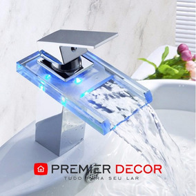 Torneira Banheiro Monocomando Led Vidro Cascata Milano
