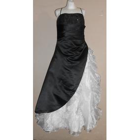 Vestido Fiesta Largo Negro Blanco Talla 14-16 Envio Gratis