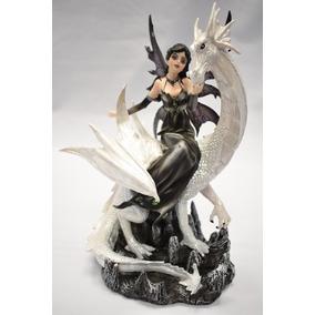 Hada De Resina 27 Cm Con Dragon Blanco