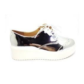 Sapato Oxford Feminino Metalizado Prata Dona Sapateira