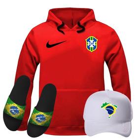 Chapéu Da Seleção Brasileira - Moletom Masculinas Vermelho no ... 859f15de0f99a