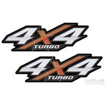 Par De Adesivos Hilux 4x4 Turbo - 2016 E 2017 - Aço Escovado