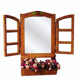 Moldura Janela Com Espelho Jardineira Floreira Madeira 60x34